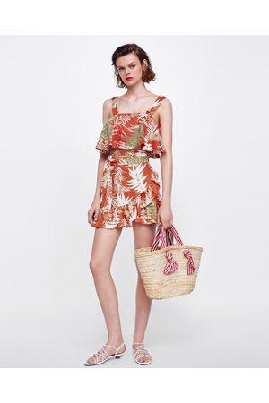 Zara CROPPED TOP MET PRINT