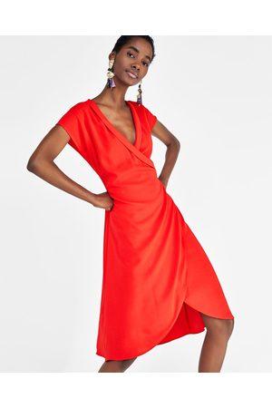 Zara Dames Asymmetrische jurken - ASYMMETRISCHE OVERSLAGJURK