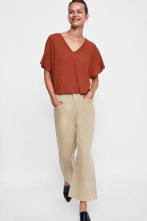 Zara CROPPED T-SHIRT MET TEXTUUR