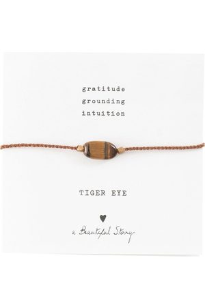 A Beautiful Story Armbanden Gemstone Card Tiger Eye Gold Plated Bracelet Goudkleurig