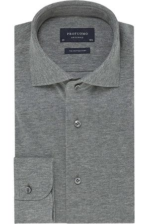 Profuomo Knitted overhemd antraciet melange