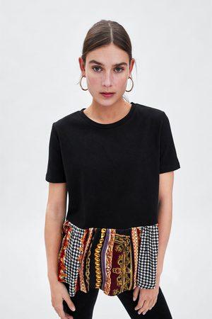 Zara T-SHIRT MET CONTRASTEREND PEPLUM