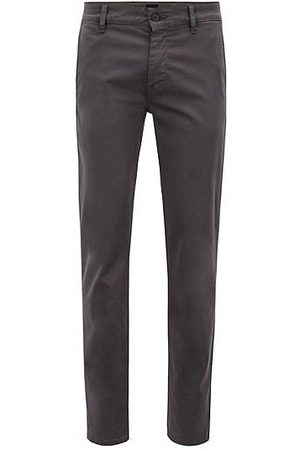HUGO BOSS Slim-fit casual chino van geborstelde stretchkatoen