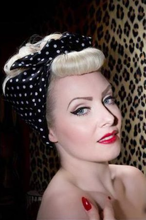 be bop a hairbands 50s I Want Polkadots In My Hair Scarf in Black