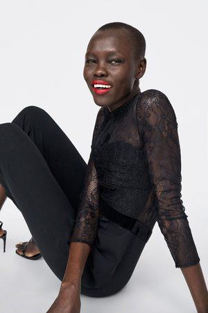Zara CONTRAST LACE JUMPSUIT