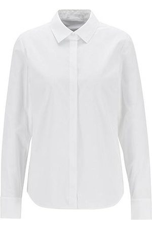 HUGO BOSS Dames Blouses - Regular-fit maatblouse in popeline van stretchkatoen
