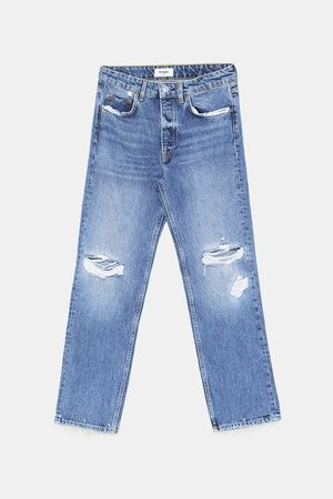 Zara JEANS MID-RISE STRAIGHT DAMAGES