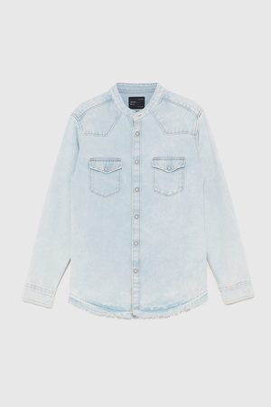 Zara RAW EDGE DENIM OVERHEMD