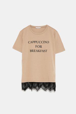 Zara Shirts - T-SHIRT WITH SLOGAN AND LACE