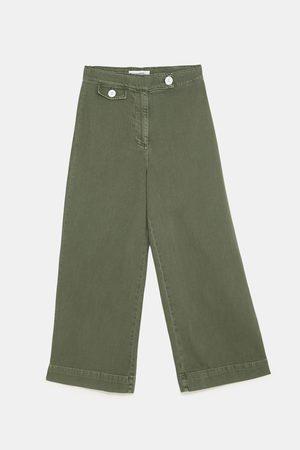 Zara Jeans zw premium marine culotte khaki