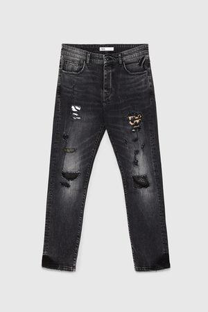 Zara Denim broek met scheuren en patches