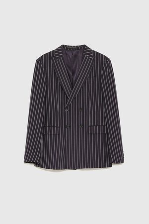 Zara Gestreepte double-breasted blazer