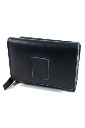 GAZ Ruime dames rits portemonnee met klep RFID zwart