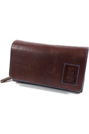 GAZ Dames Portemonnees - Grote dames portemonnee met dubbele klep en rits RFID Bruin