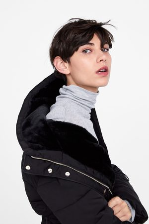 Zara Gewatteerde jas met capuchon