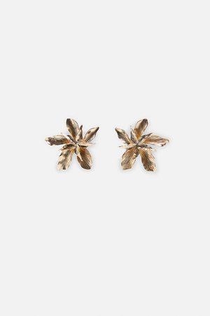 Zara Metallic flower earrings