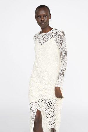 Zara Asymmetrische guipure jurk