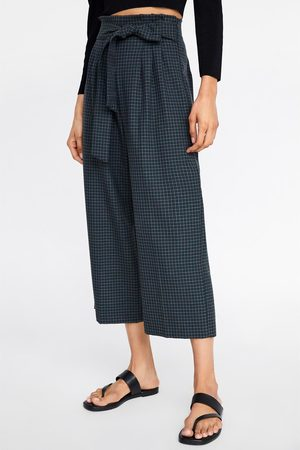Zara Geruite culottebroek met riem