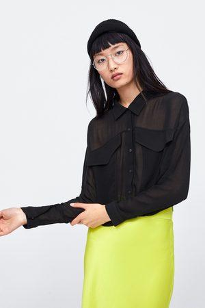 Zara Korte semitransparante blouse