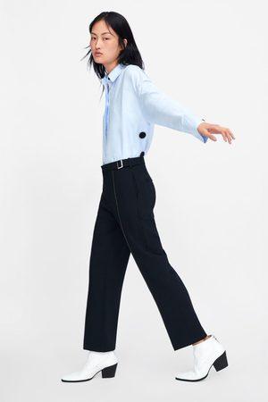 Zara Dames Pantalons - Broek met contrasterende sierstiksels