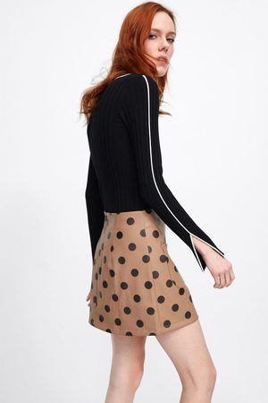 Zara Dames Geprinte rokken - Minirok in leerlook met stippenprint