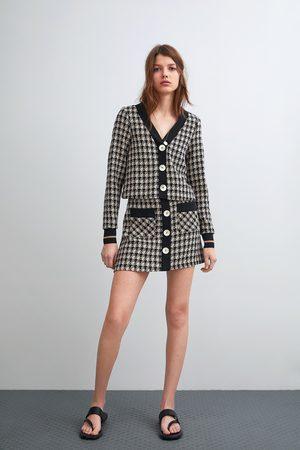 Zara Tweed minirok met knopen