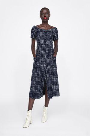 Zara Tweed jurk met sierknoop
