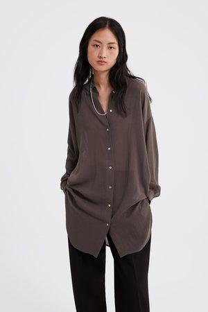 Zara Dames Blouses - Lang overhemd met structuur