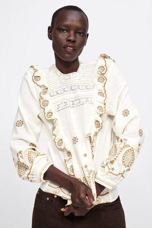 Zara Dames Blouses - Blouse met borduursels en volant