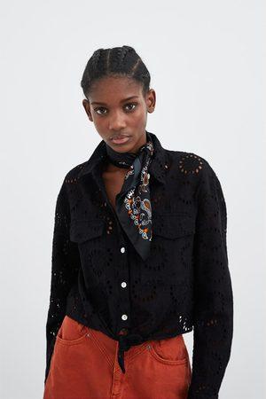 Zara Gestanste blouse met gaatjes