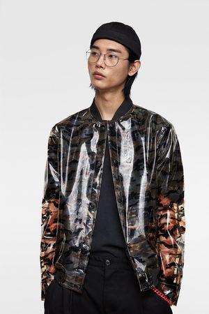 Zara Transparant bomberjack met camouflageprint