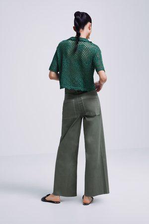 Zara Jeans zw premium marine culotte khaki coated