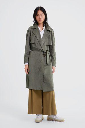 Zara Double-breasted trenchcoat met kunstsuède