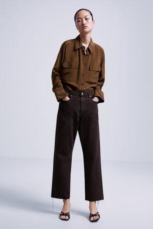 Zara Dames Straight - Jeans zw premium straight cropped
