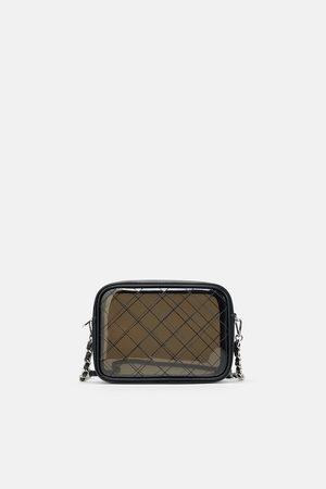 Zara Zwarte vinyl schoudertas