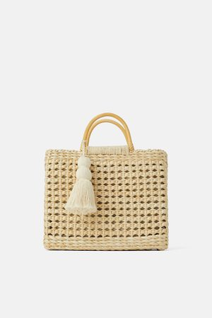 Zara Dames Shoppers - Shopper in naturel met houten hengsels