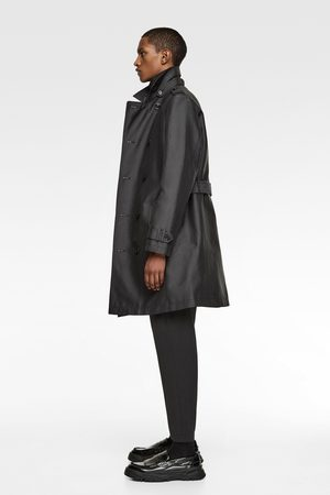 Zara Zijdeachtige double-breasted trenchcoat