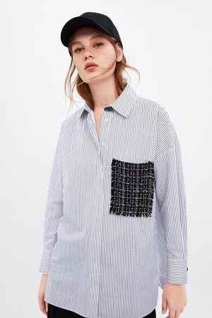 Zara Striped shirt with tweed pocket