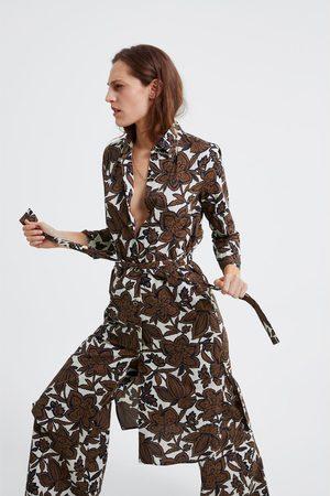 Zara Dames Riemen - Tuniek met bloemenprint en ceintuur
