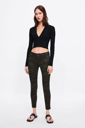 Zara Dames Skinny - Skinny jeans z1975 met camouflageprint