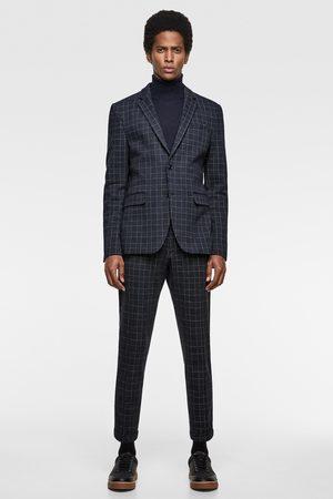 Zara Comfortabele geweven kostuumblazer met ruitjesprint