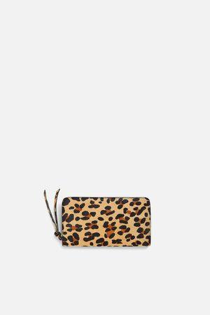 Zara Leren portefeuille met dierenprint