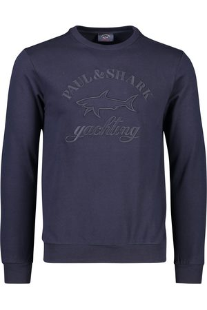 Paul & Shark Heren Pullovers - Pullover ronde hals navy katoen