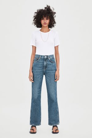 Zara Straight relaxed jeans met hi-rise