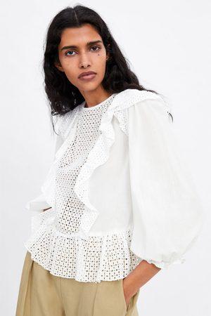 Zara Gestanste blouse met borduursel