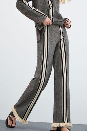 Zara Gestreepte broek met franjes