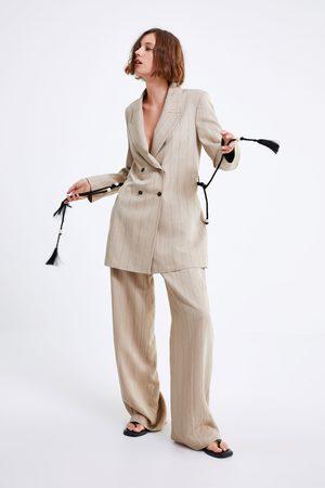 Zara Gestreepte blazer met ceintuur