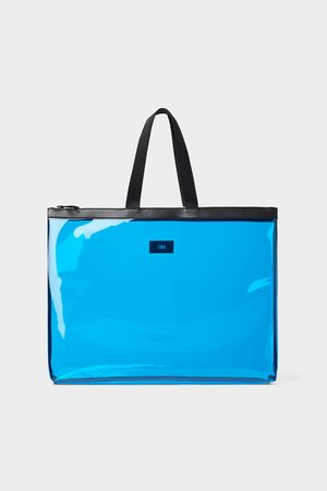 Zara Blauwe vinyl xl-shopper