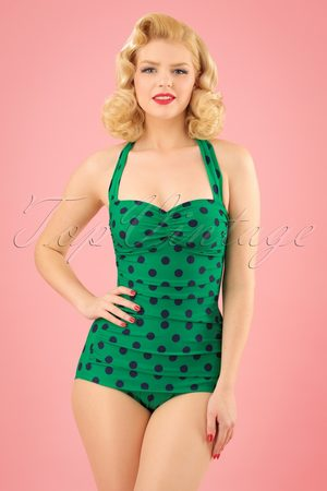 Esther Williams Dames Badpakken - 50s Classic Polkadot One Piece Swimsuit in Green and Navy