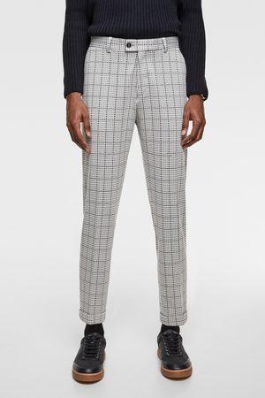 Zara Comfortabele geweven kostuumbroek met ruitjesprint
